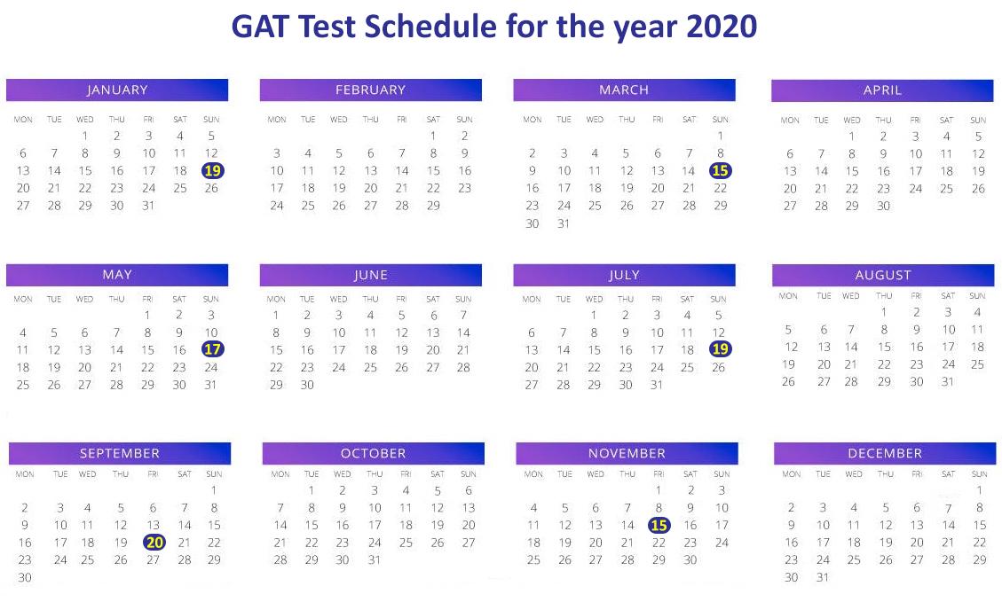 GAT test schedule